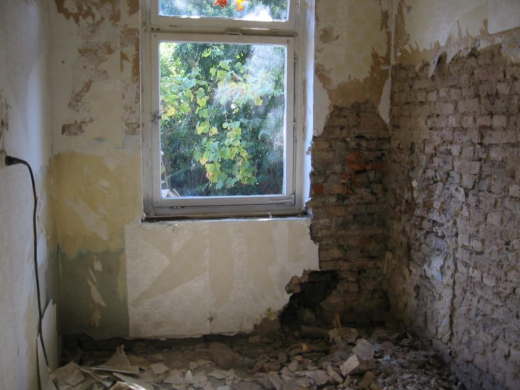 Küche im Verfallenen Zustand. Backsteine und Putz liegen abgefallen auf dem Boden. Ein Fenster mit Blick auf den Garten ist versperrt durch eine Hecke.