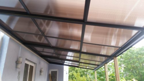 8 Meter langes Aluminum Schiebedach mit System Profilen aus Aluminium.